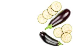 Eggplant or aubergine isolated on white background with copy space for your text. Top view. Flat lay pattern Stock Images