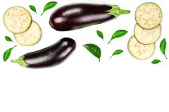 Eggplant or aubergine isolated on white background with copy space for your text. Top view. Flat lay pattern Stock Image