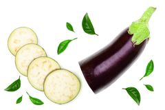 Eggplant or aubergine isolated on white background. Top view. Flat lay pattern Stock Image