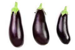 Eggplant or aubergine isolated on white background. Top view. Flat lay pattern Stock Photo