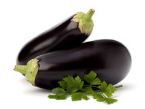 Eggplant or aubergine and parsley leaf Royalty Free Stock Images
