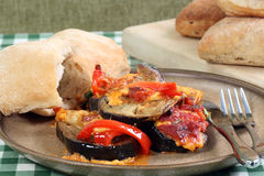 Eggplant aubergine and red pepper bake Royalty Free Stock Photo