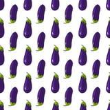 Eggplant aubergine seamless pattern on white background. Vegetables pattern. Eggplant aubergine seamless pattern on white background vector illustration