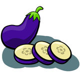Eggplant Aubergine with Slices. Cute vector cartoon Eggplant Aubergine with Slices isolated with shadow vector illustration