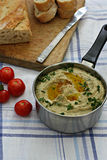 Eggplant baba ganoush with bread. Herbs and tomatoes Royalty Free Stock Images