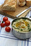Eggplant baba ganoush with bread. Herbs and tomatoes Stock Images