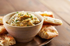 Eggplant baba ganoush with flat bread. And herbs Royalty Free Stock Images