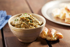 Eggplant baba ganoush with flat bread Royalty Free Stock Images