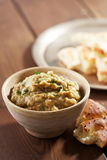 Eggplant baba ganoush with flat bread Stock Image