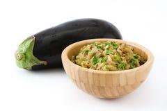 Eggplant baba ganoush and ingredients isolated Royalty Free Stock Photos