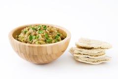 Eggplant baba ganoush and pita bread isolated Stock Photos