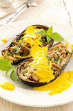 Eggplant Baked with Cheese and Saffron Sauce Stock Photos