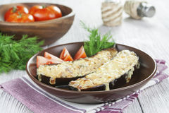 Eggplant baked with meat and cheese Stock Photography