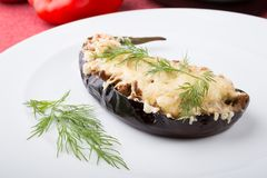 Eggplant baked with parmesan cheese. And mushrooms royalty free stock images