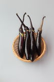 Eggplant. A basket of Eggplant in gray background Royalty Free Stock Photography