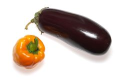 Eggplant and bell pepper stock photo