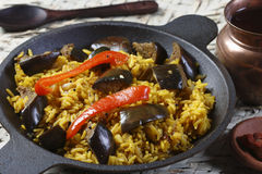 Eggplant Biryani - An Indian food made of rice and eggplant. Eggplant Biryani - The eggplant, aubergine, or brinjal Biryani is a Vegetarian version of the Stock Photos