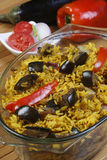 Eggplant Biryani - An Indian food made of rice and eggplant. Eggplant Biryani - The eggplant, aubergine, or brinjal Biryani is a Vegetarian version of the Royalty Free Stock Photos