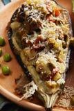 Eggplant boat closeup Stock Photos