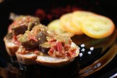 Eggplant bruschetta royalty free stock photos