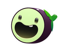Eggplant cartoon character bright juicy on a white background Stock Images
