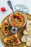 Eggplant caviar in a glass jar Royalty Free Stock Photos