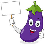 Eggplant Character with Blank Banner royalty free stock photo