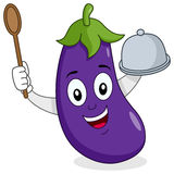 Eggplant Character with Tray and Spoon stock photos