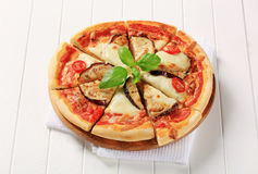 Eggplant and cheese pizza Stock Images