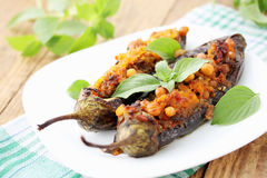 Eggplant with chick-pea and vegetables Royalty Free Stock Images