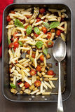 Eggplant Chilli and Tomato Pasta stock photos