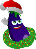 Eggplant with Christmas wreath and Santa hat Stock Photos