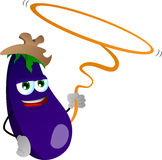 Eggplant cowboy with lasso Royalty Free Stock Photos