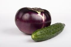 Eggplant and cucumber Stock Image