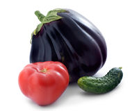 Eggplant, cucumber and tomato Stock Photos