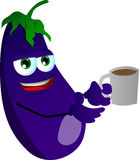 Eggplant with a cup of coffee Stock Photo