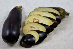 Eggplant delicious delicacy edible fruit. In the Botanical sense, eggplant berry, culinary is considered as a vegetable. Useful for lunch, Breakfast and dinner royalty free stock photo