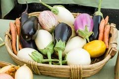 Eggplant display at the market Royalty Free Stock Photos