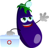 Eggplant doctor with first aid kit Royalty Free Stock Photography