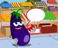 Eggplant eating apple on the market with speech bubble Royalty Free Stock Image