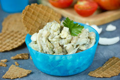 Eggplant egg salad for snack Stock Photography