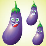 Eggplant face expression cartoon character set Royalty Free Stock Image