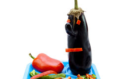Eggplant with face. On white background Stock Images