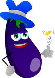 Eggplant flipping a coin Royalty Free Stock Photography