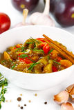 Eggplant food with tomato and pepper Stock Photo