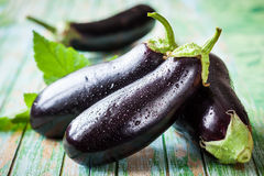 Eggplant. Fresh eggplant on the old wooden table stock images