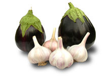 Eggplant and garlic. Stock Images