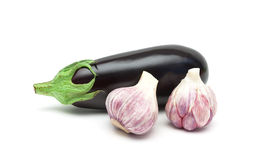 Eggplant and garlic close-up on white background Royalty Free Stock Photography
