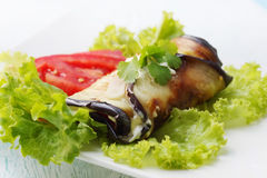Eggplant and garlic sauce Royalty Free Stock Images