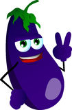 Eggplant gesturing the peace sign Royalty Free Stock Photos